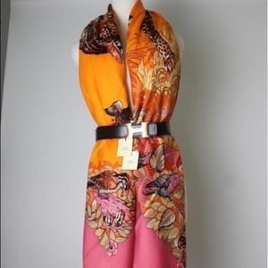 Hermès orange pink cashmere jungle love shawl.